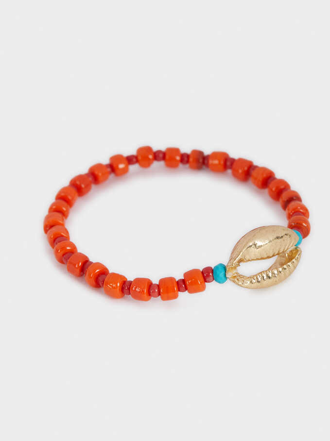 Recife Elasticated Bracelet With Seashell, Golden, hi-res