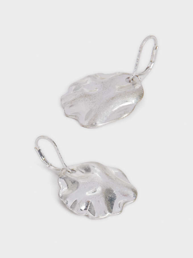 Short Silver-Plated Earrings, Silver, hi-res