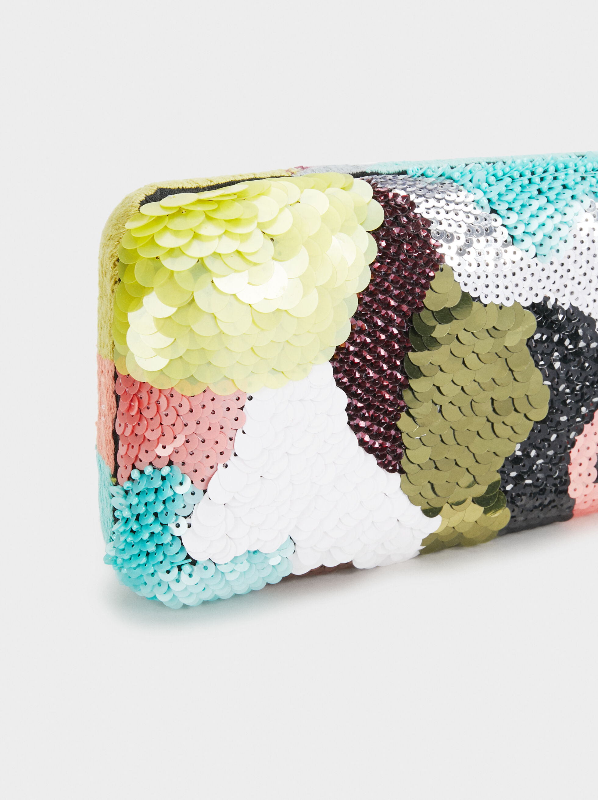 Beaded Party Clutch, Green, hi-res