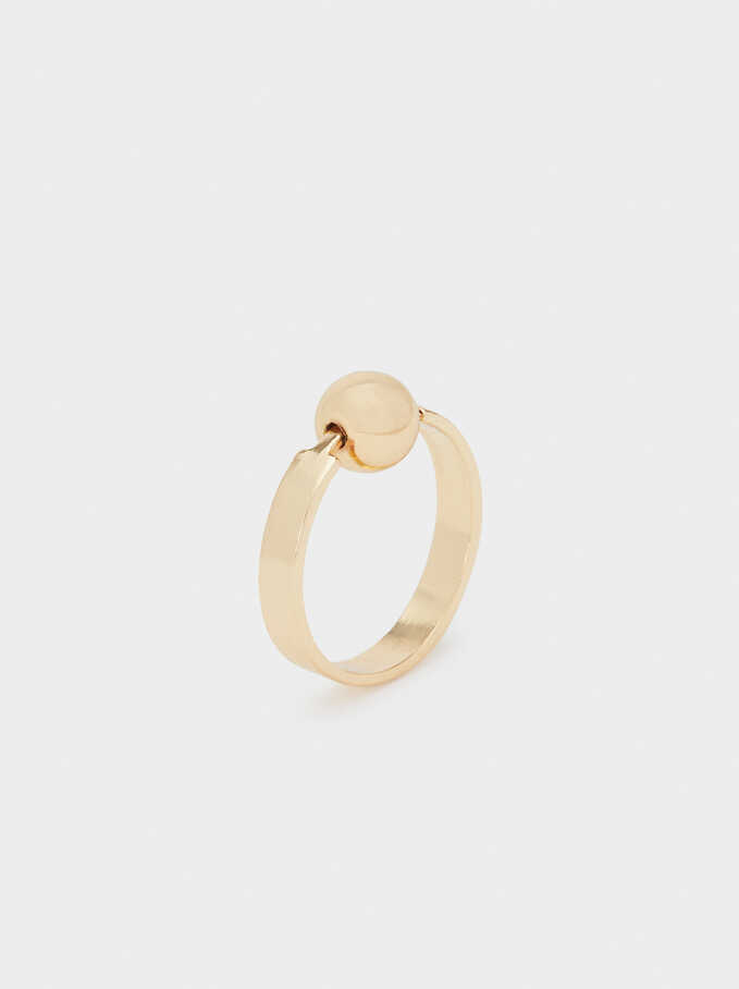 Gold Faux Pearl Ring, Golden, hi-res