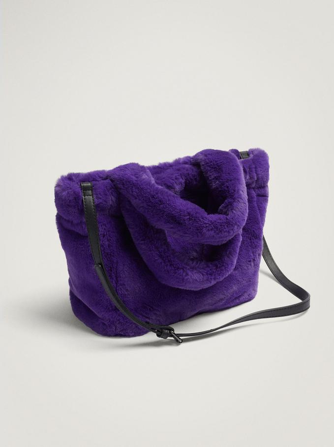 Fur Shoulder Bag, Purple, hi-res