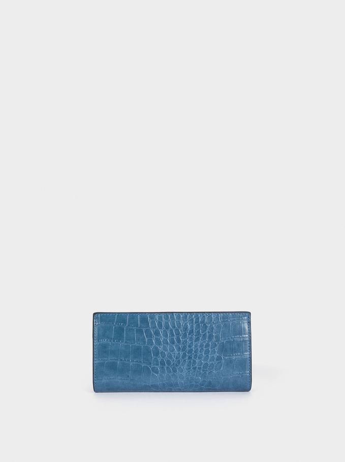Large Embossed Animal Print Wallet, Blue, hi-res