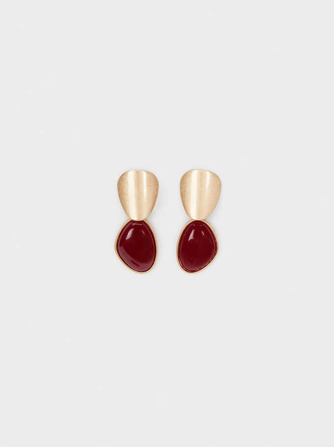Enamel Earrings, Red, hi-res