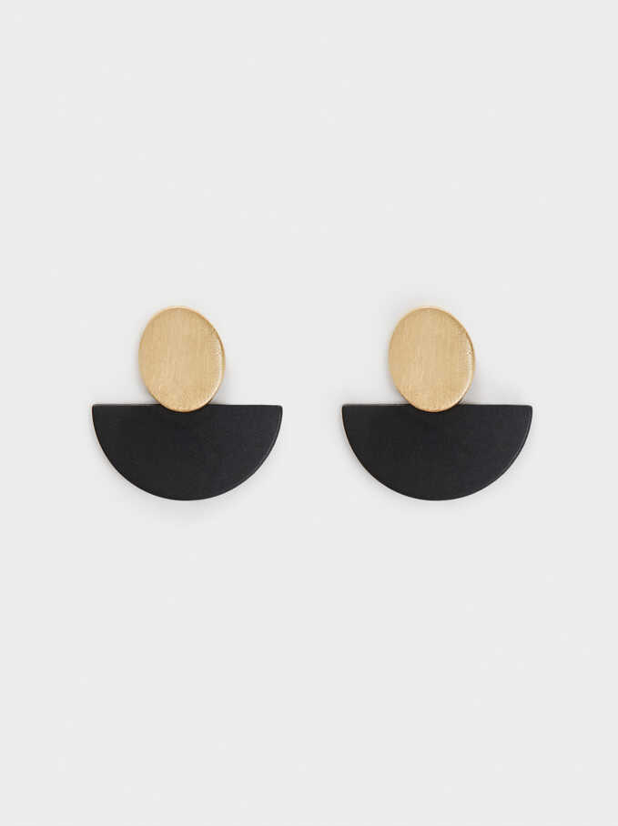 Short Enamel Earrings, Black, hi-res