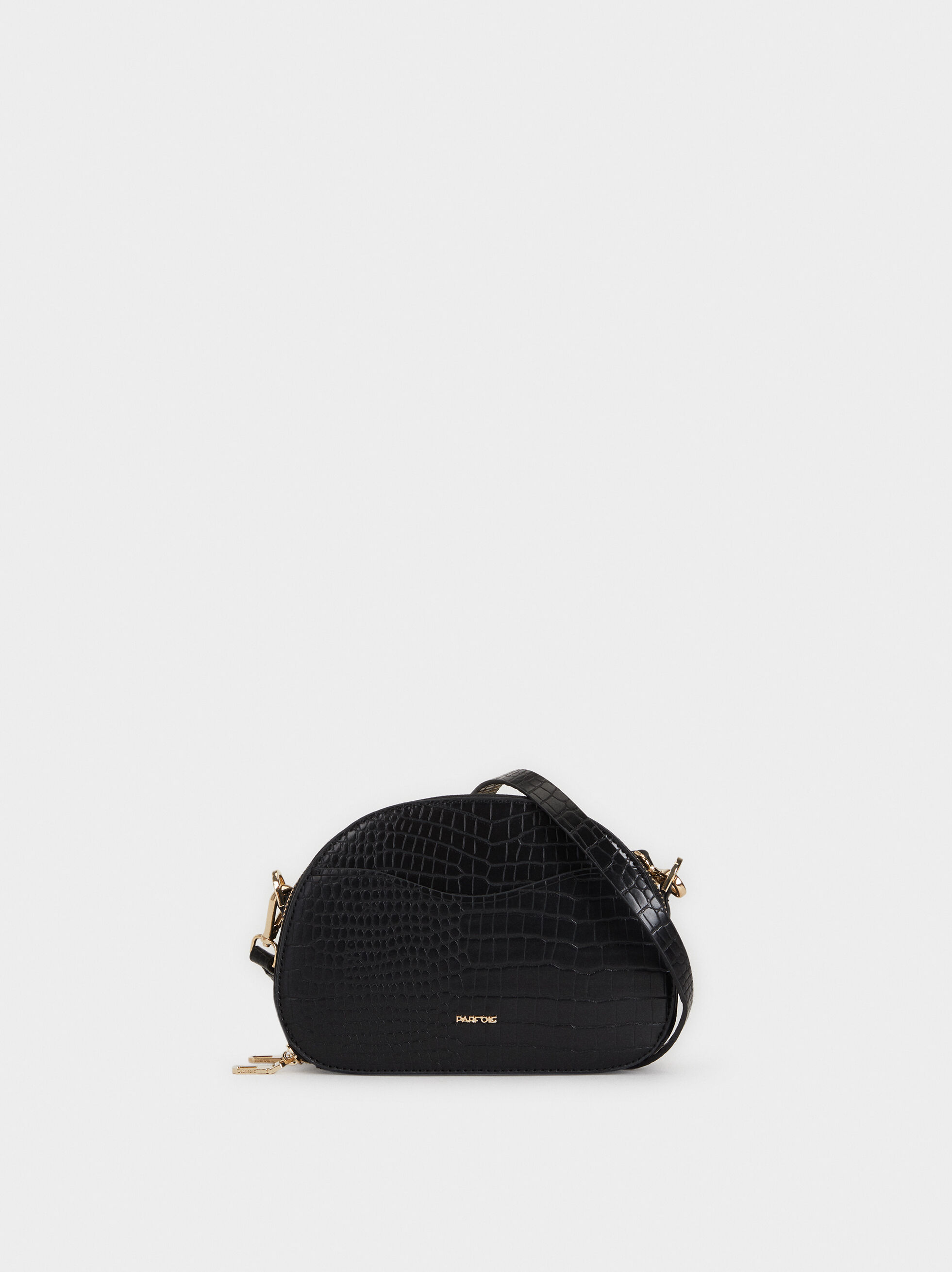 Faux Snakeskin Crossbody Bag, Black, hi-res