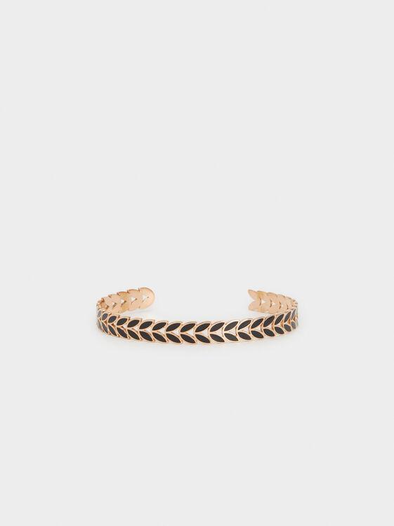 Steel Leaf Cuff Bracelet, Orange, hi-res
