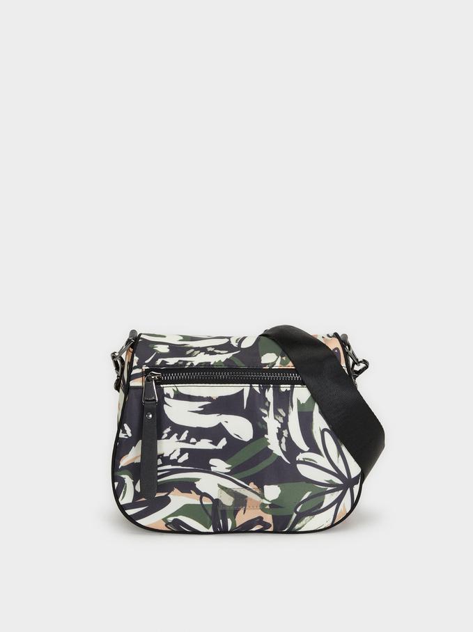 Printed Nylon Shoulder Bag, Black, hi-res