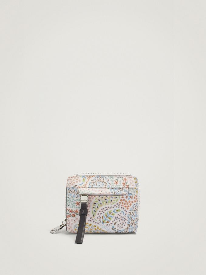 Paisley Print Nylon Compact Wallet, Blue, hi-res