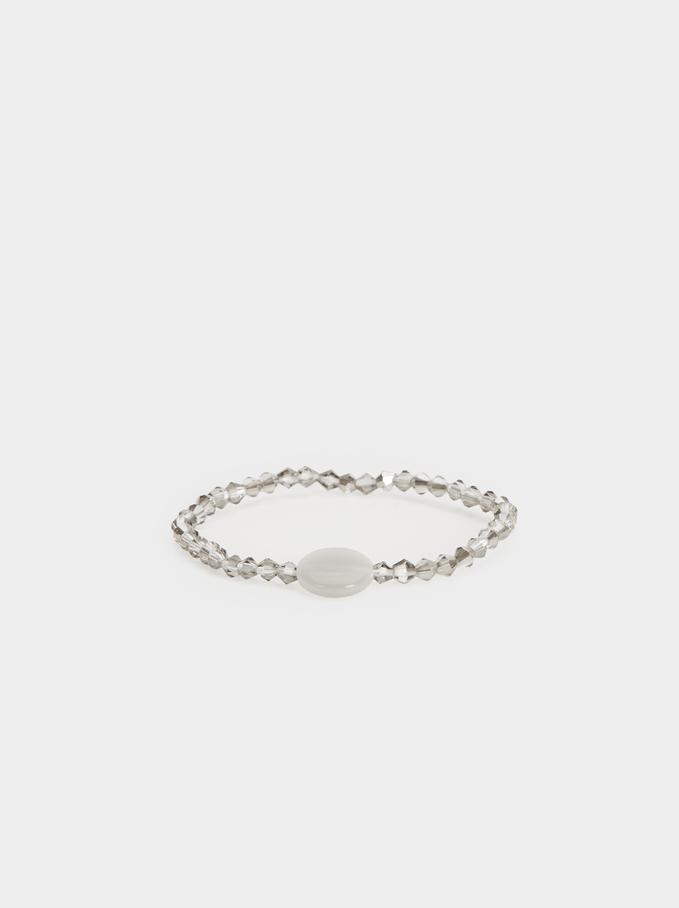 Elastic Bracelet With Rhinestones, Silver, hi-res
