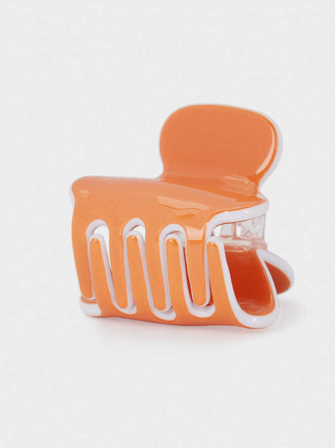 Plain Hair Claw, Orange, hi-res