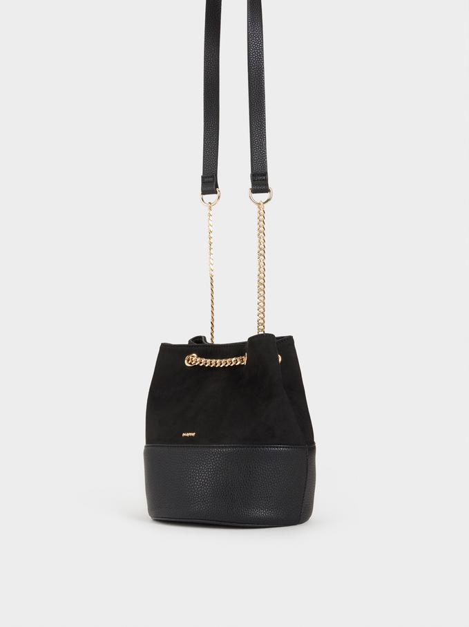 Faux Suede Bucket Bag, Black, hi-res