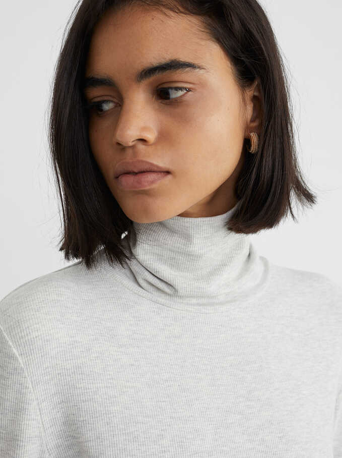 High-Neck Knit Sweater, Grey, hi-res