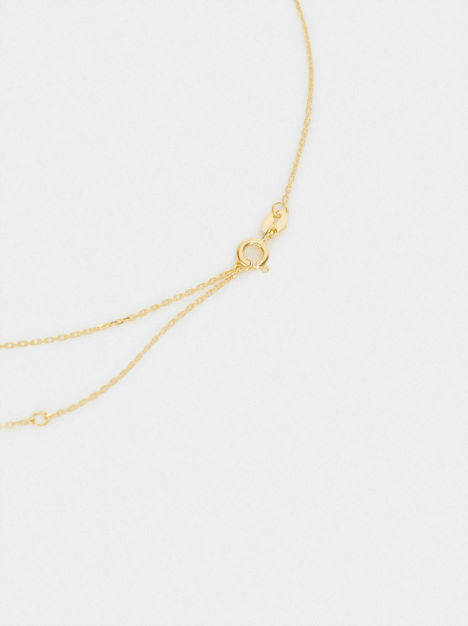 925 Silver Short Heart Necklace, Golden, hi-res