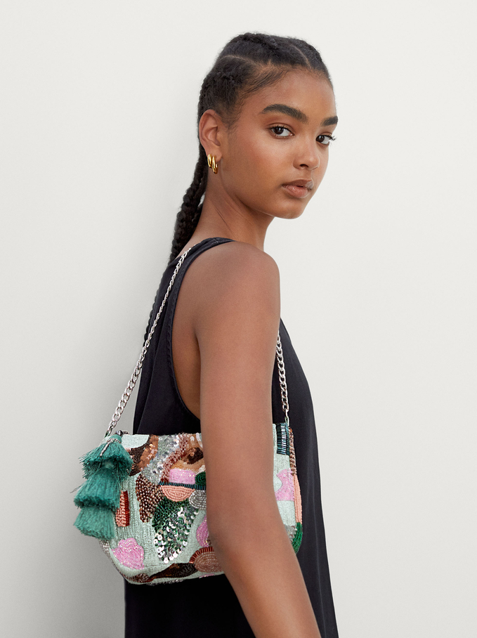Party Handbag With Beaded Strap, Green, hi-res