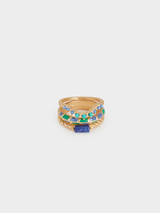 Zorba Set Of Rings With Stone, Multicolor, hi-res