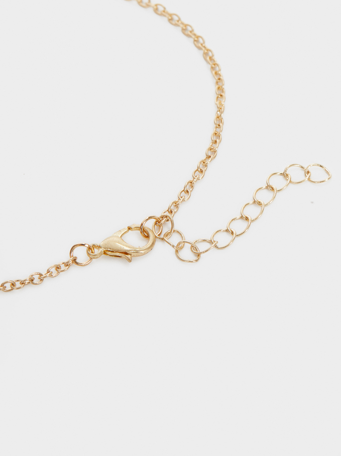 Gold Anklet With Beads, Multicolor, hi-res