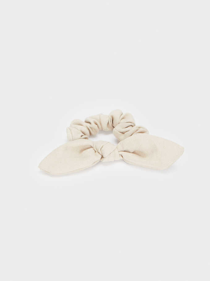 Velvet Scrunchie With A Bow, Beige, hi-res