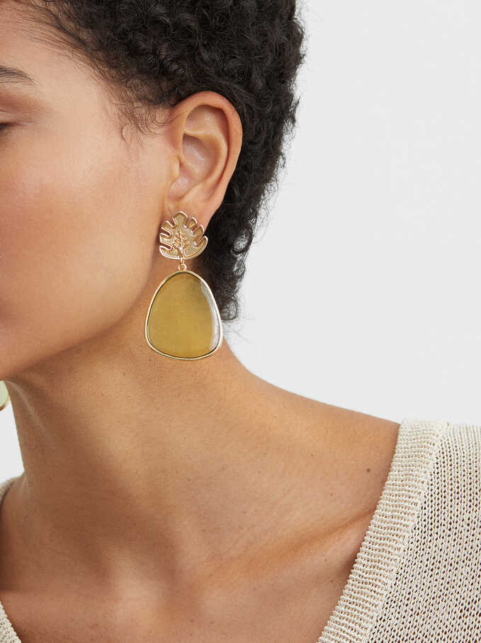 Long Enamel Earrings, Multicolor, hi-res