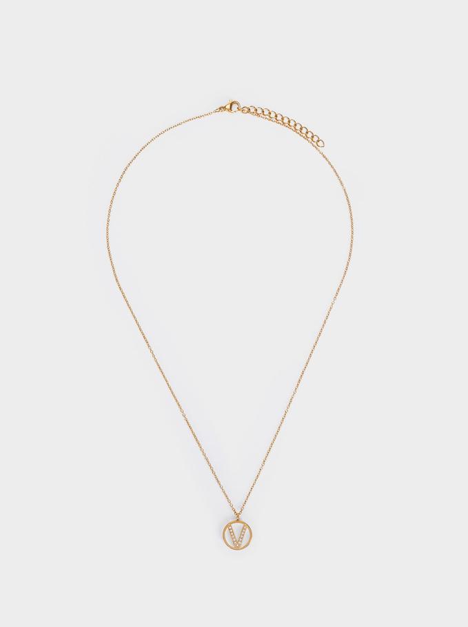 Short Steel Necklace With Letter V, Golden, hi-res