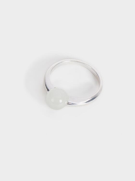 Faux Pearl Ring, Silver, hi-res