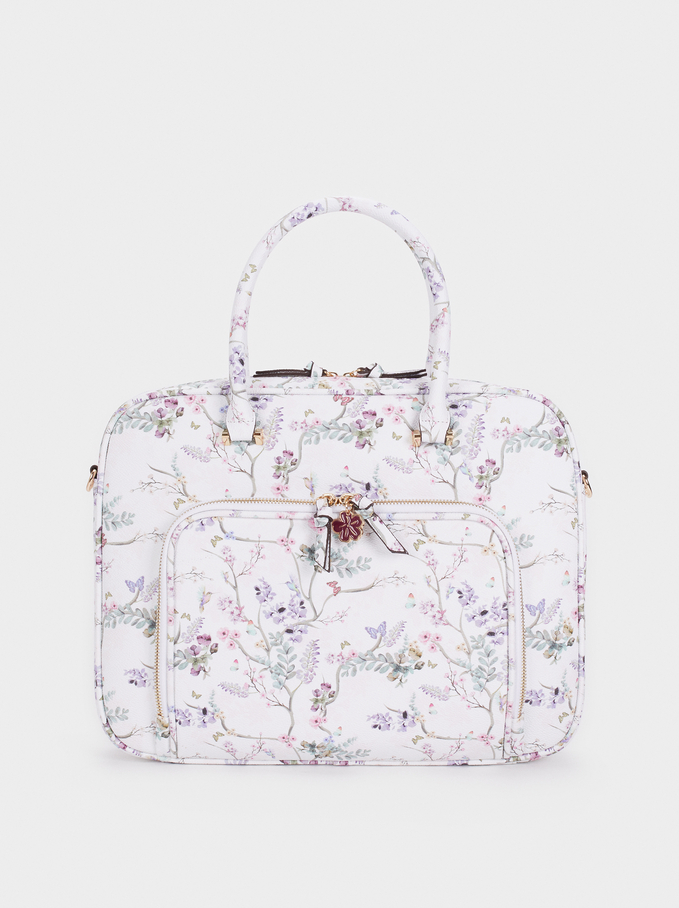 Floral Print Briefcase, Violet, hi-res