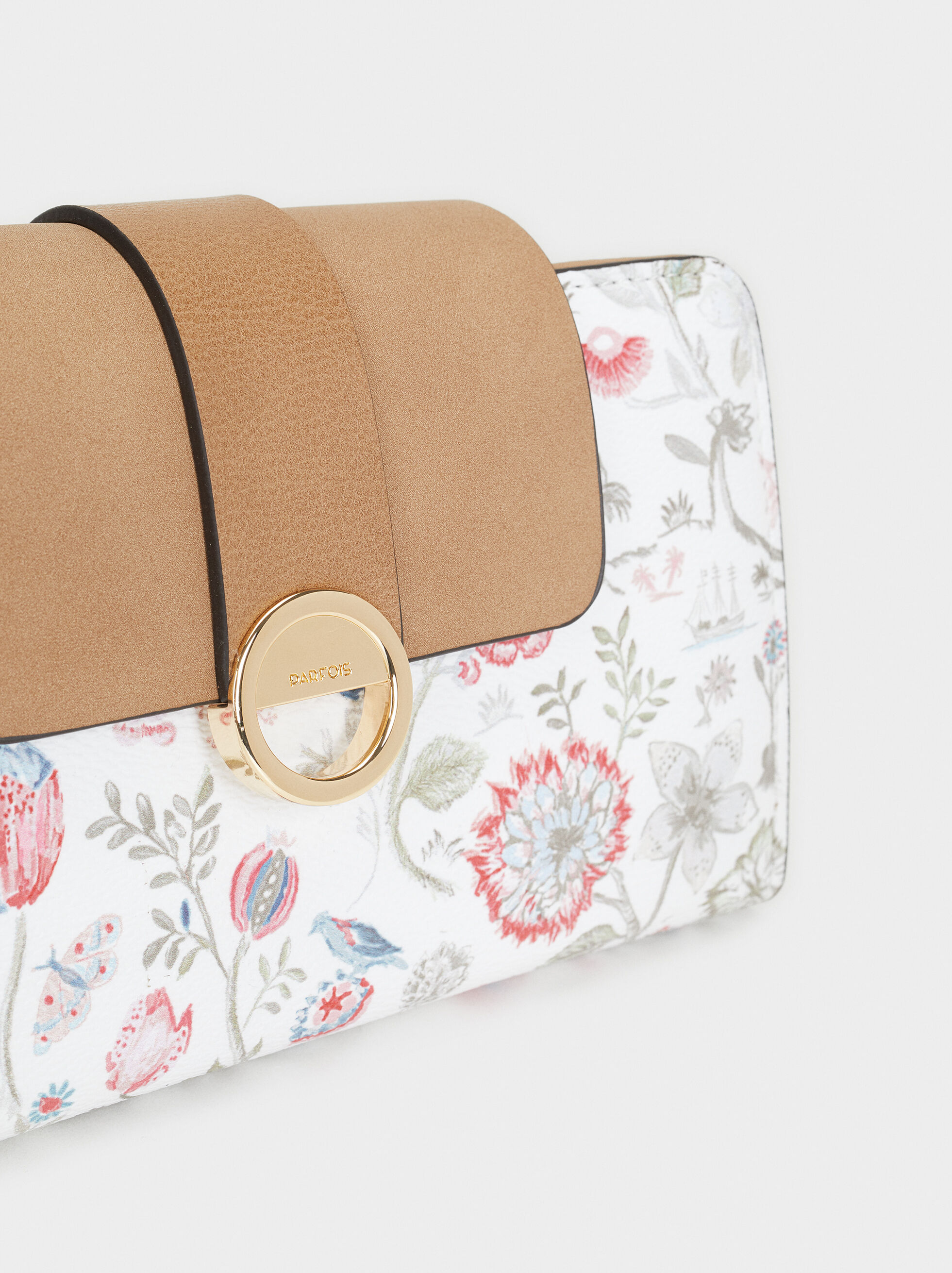 Large Floral Print Purse, Pink, hi-res