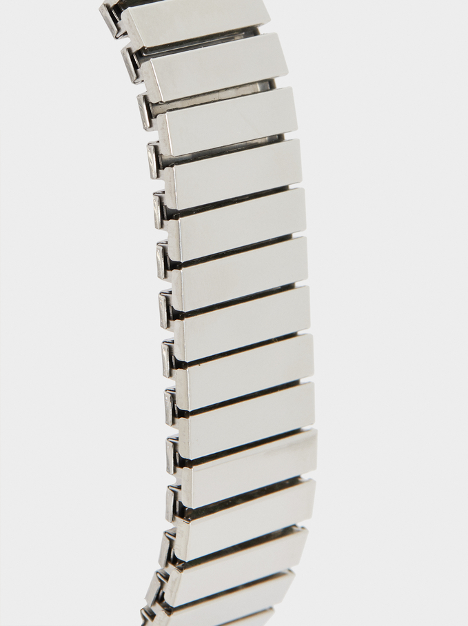 Watch With Elasticated Metal Wristband, Silver, hi-res