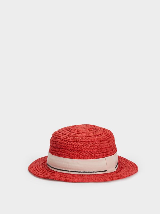 Raffia Effect Hat, Coral, hi-res