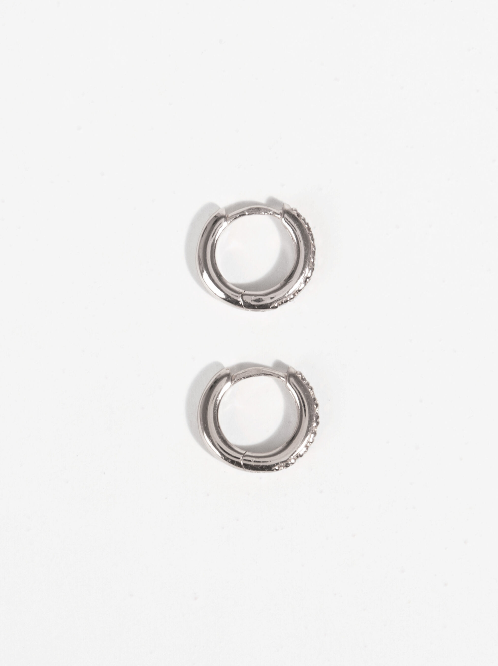 925 Silver Small Hoop Earrings With Rhinestones, Silver, hi-res