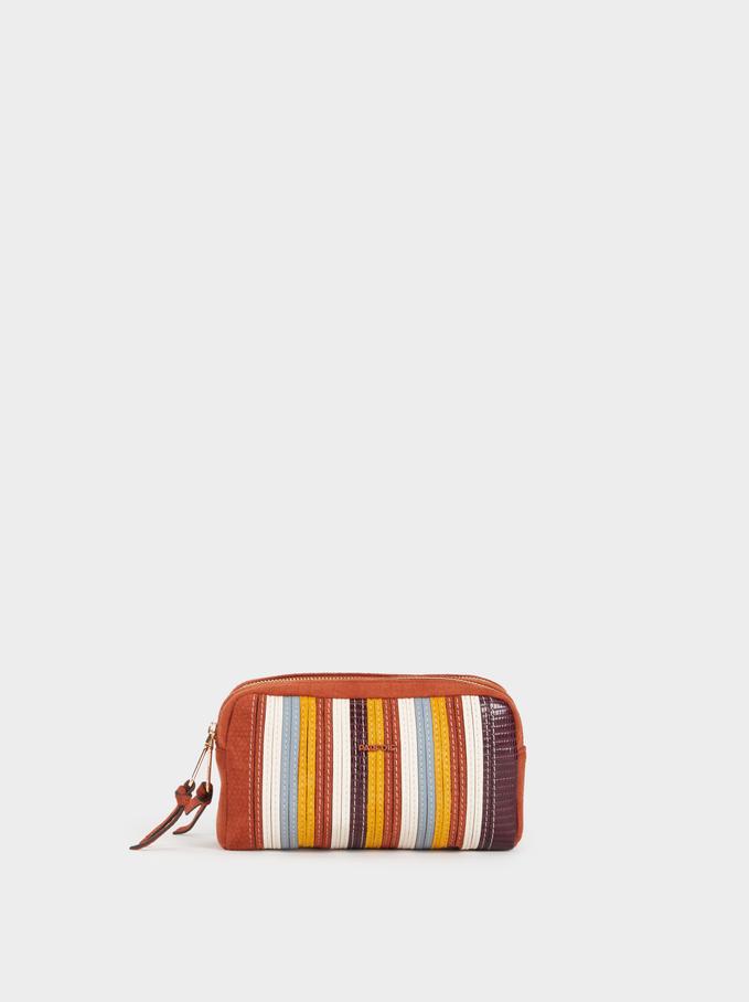 Embossed Toiletry Bag, Brick Red, hi-res