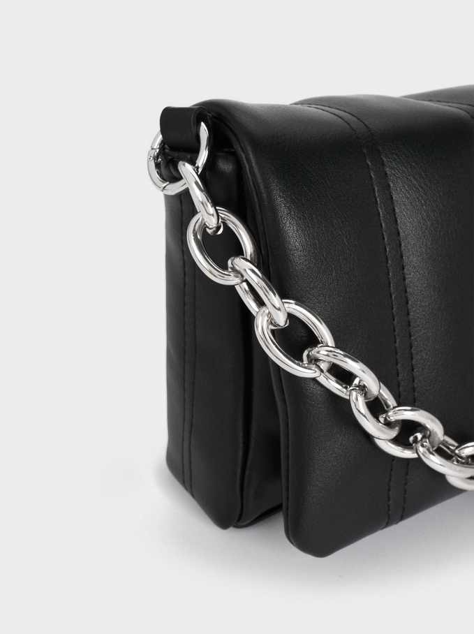Quilted Handbag With Chain Handle, Black, hi-res