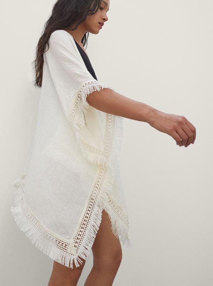 Open Kimono With Fringe, Ecru, hi-res