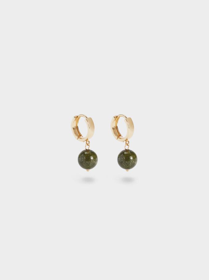 Small Hoop Earrings With Stone, Khaki, hi-res