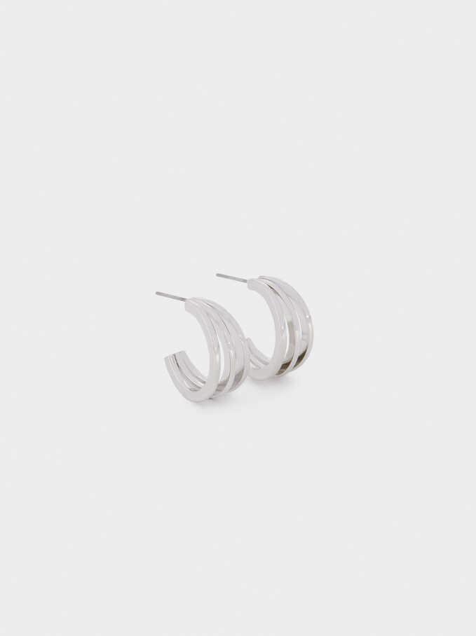 Small Triple Hoop Earrings, Silver, hi-res