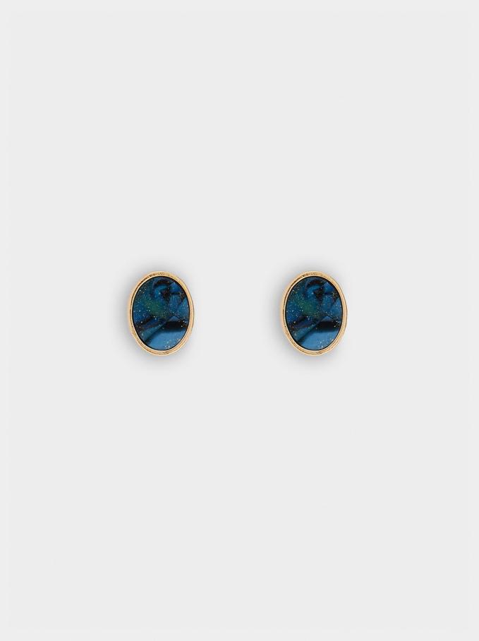 Krótkie Geometryczne Kolczyki, Niebieski, hi-res