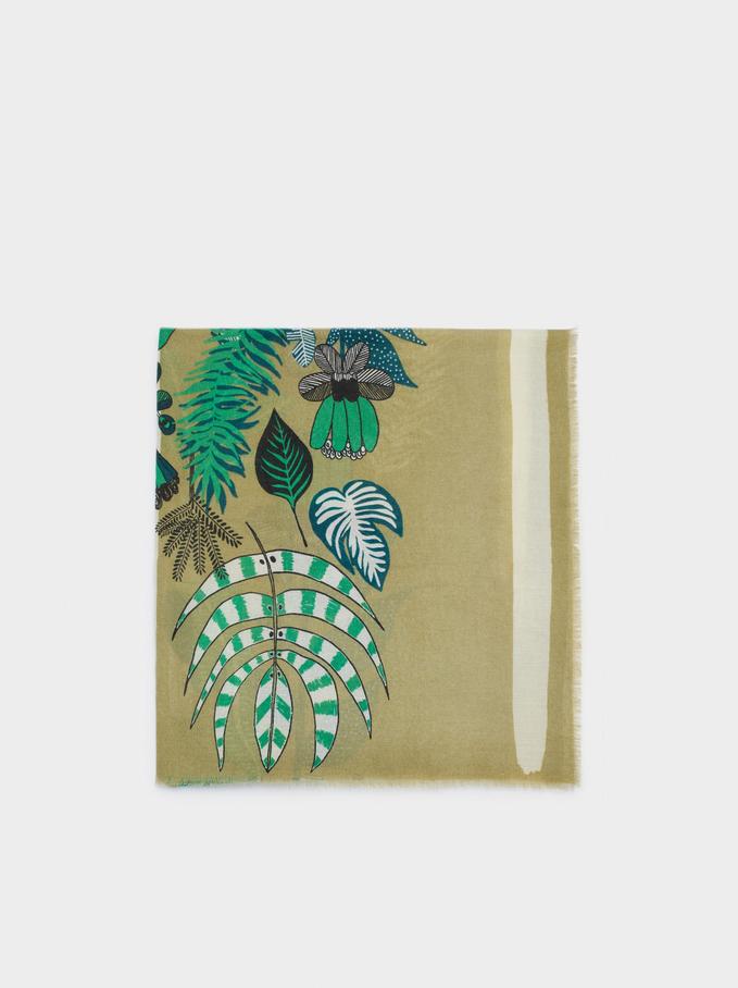 Floral Print Scarf, Green, hi-res
