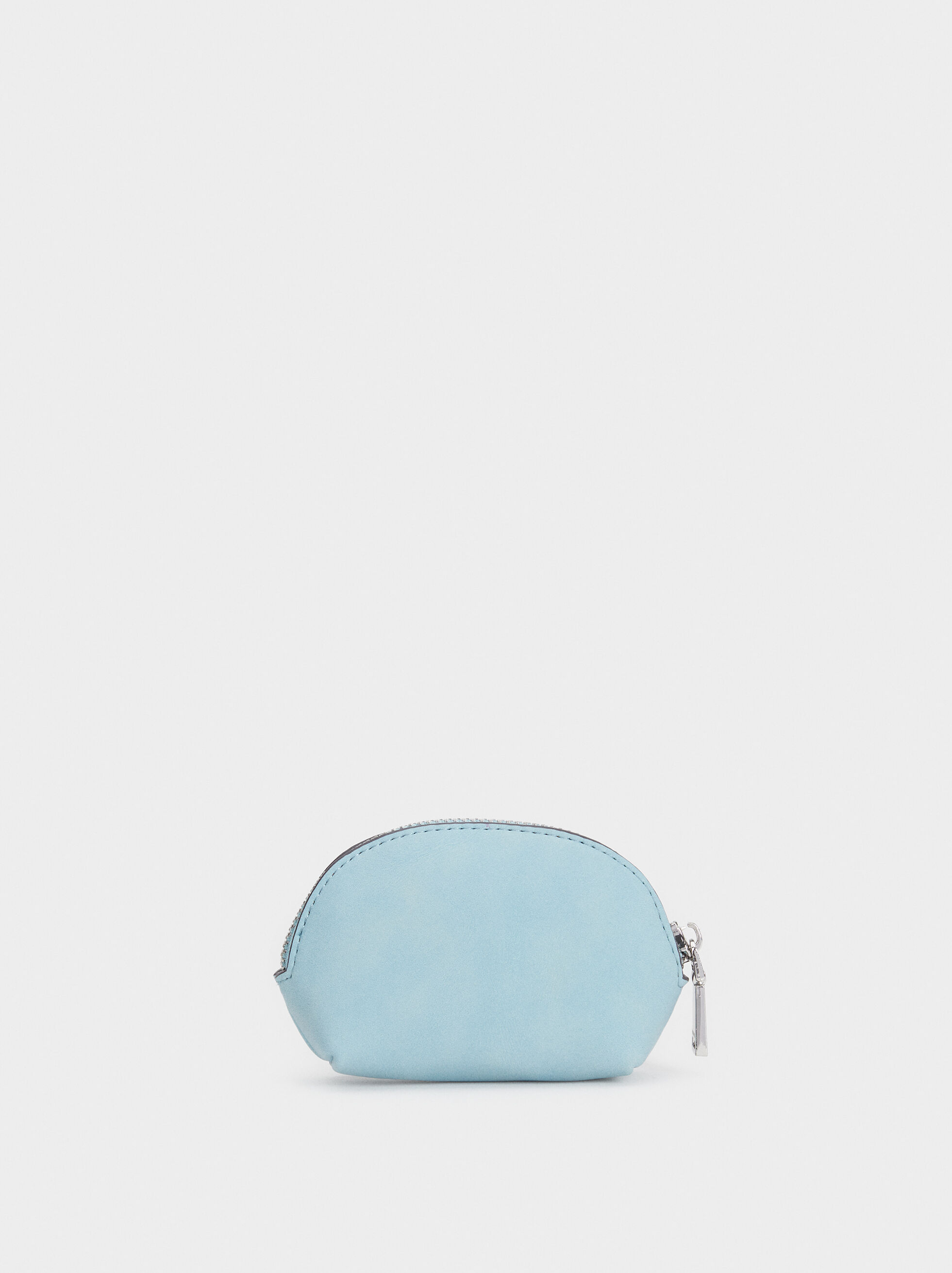 Small Suede Texture Purse, Blue, hi-res