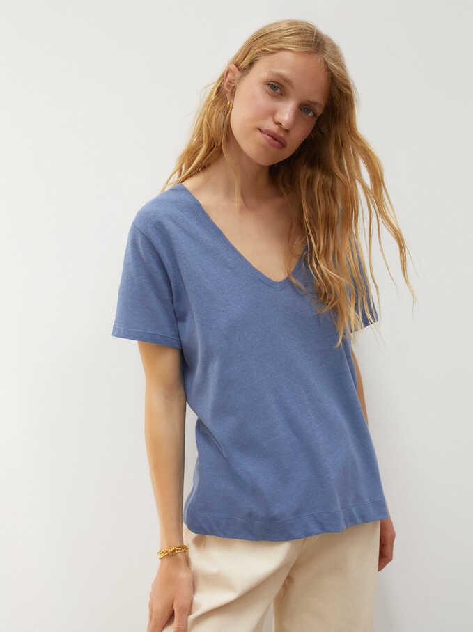 T-Shirt En Lin À Col EnV, Bleu, hi-res