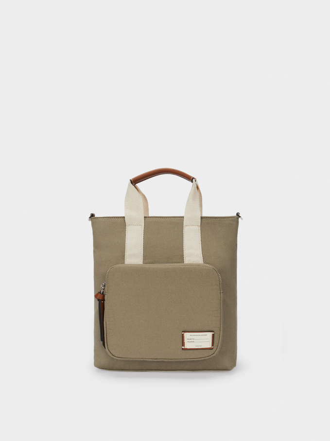 Multi-Way Canvas Backpack With Handles, Khaki, hi-res