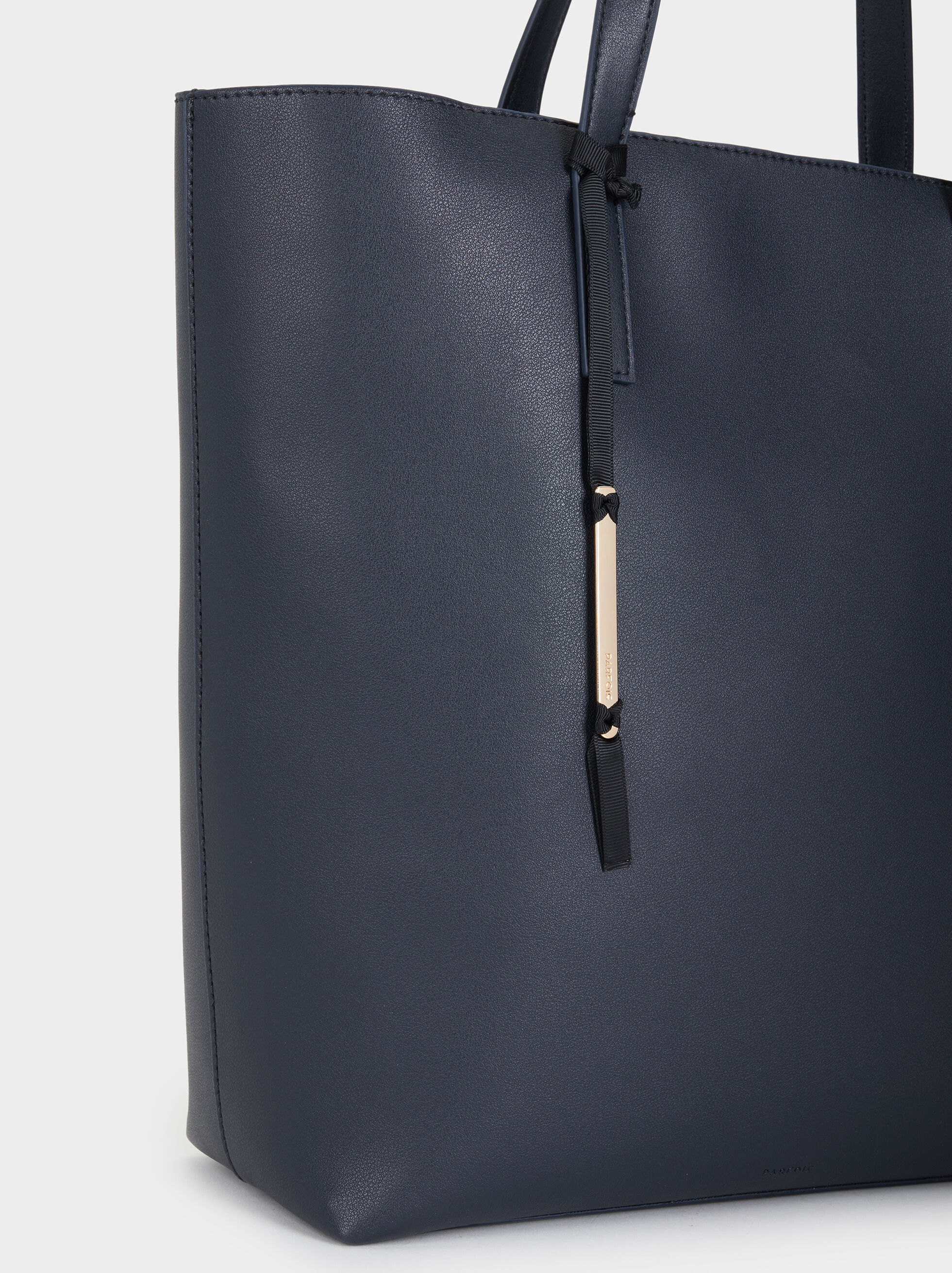 Tote Bag With Metallic Appliqué, Navy, hi-res