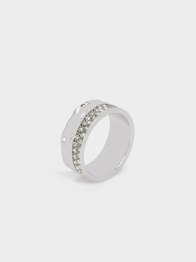 Wide Ring With Rhinestones, Silver, hi-res