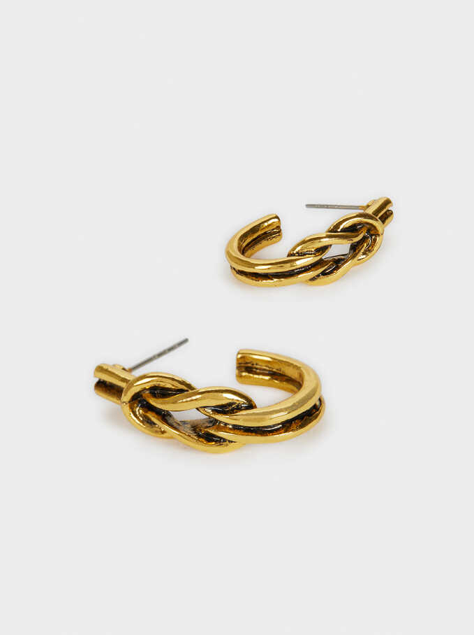 Knot Earrings, Golden, hi-res
