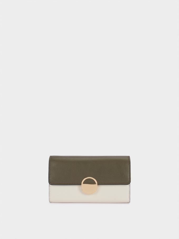 Bicolor Wallet With Shoulder Strap, Khaki, hi-res
