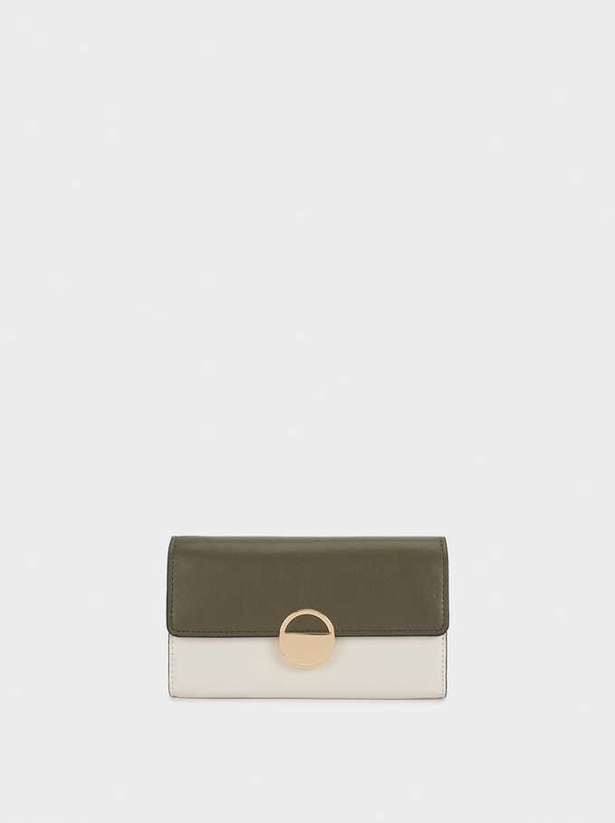 Compact Purse With Shoulder Strap, Khaki, hi-res