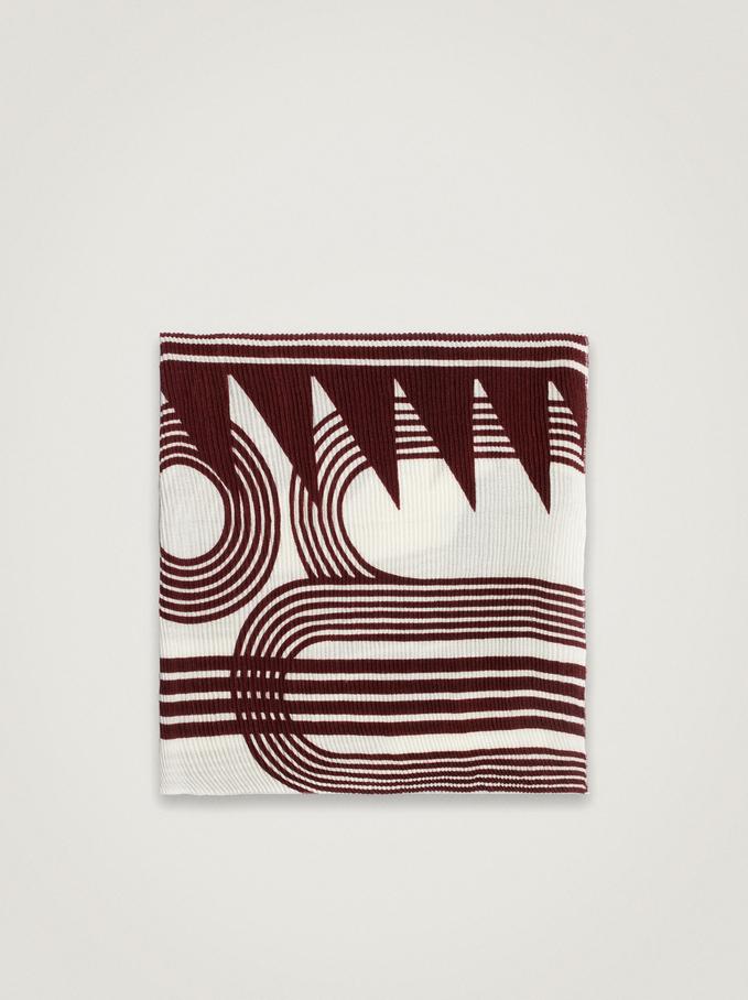 Printed Maxi Scarf, Bordeaux, hi-res