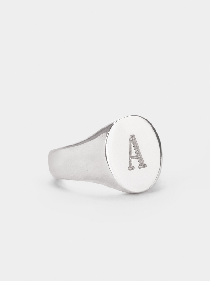 Pinky Finger Signet Ring Size S, Silver, hi-res