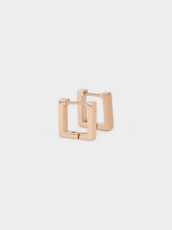 Small Square Steel Earrings, , hi-res