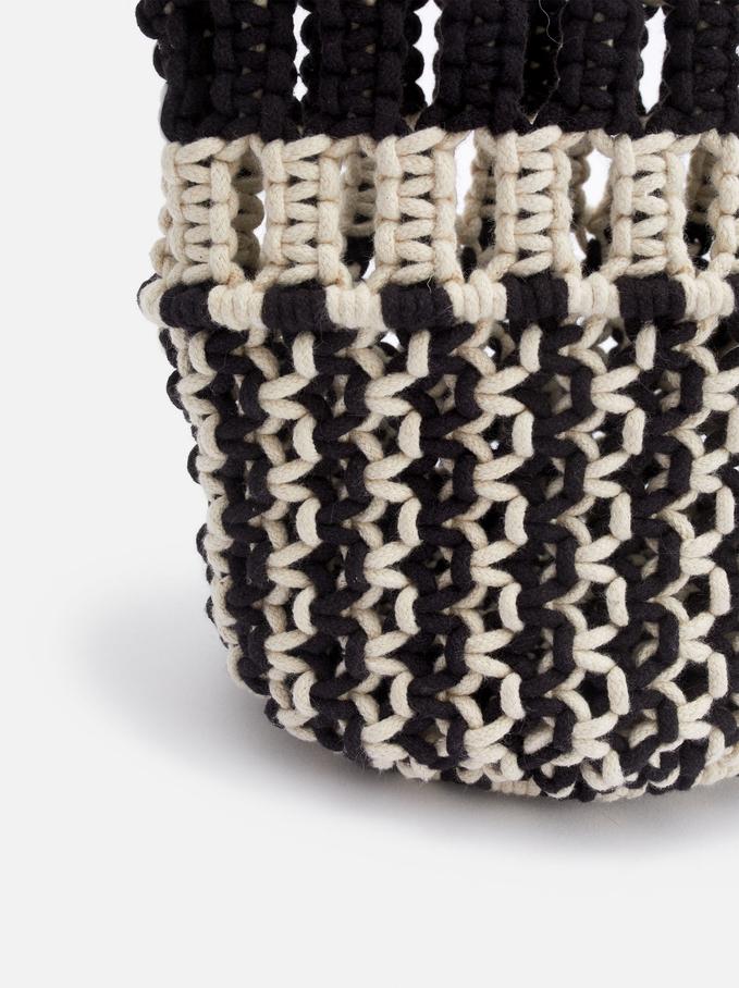 Crochet Bucket Bag, Ecru, hi-res