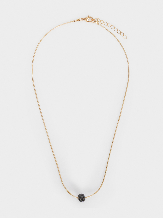 Short Silver Necklace With Crystals, Golden, hi-res