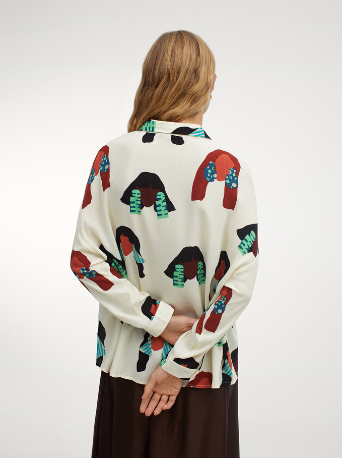 Long-Sleeve Printed Shirt, Ecru, hi-res